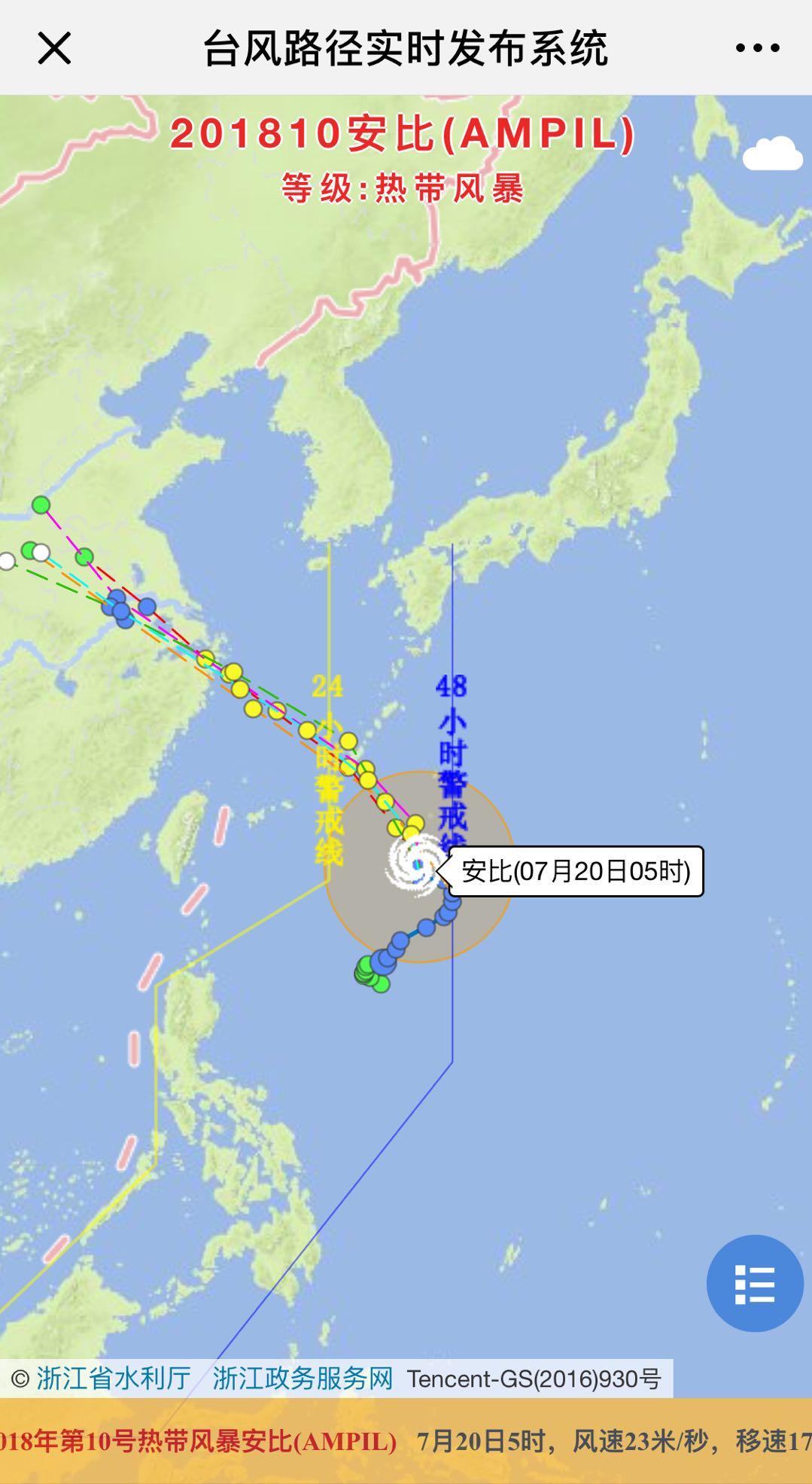 今年第10号台风安比看起来并不强势,但路径明确,直奔浙江沿海而来。 气象部门预计,安比将在明天凌晨进入东海,可能在22日凌晨至上午在浙江沿海登陆。 从目前的天气预报来看,21日,宁波阵雨,夜里部分大到暴雨,22日大到暴雨。  (查看台风路径) 根据今晨5时,中央气象台发布的台风快讯显示,安比当前中心位置在北纬22.