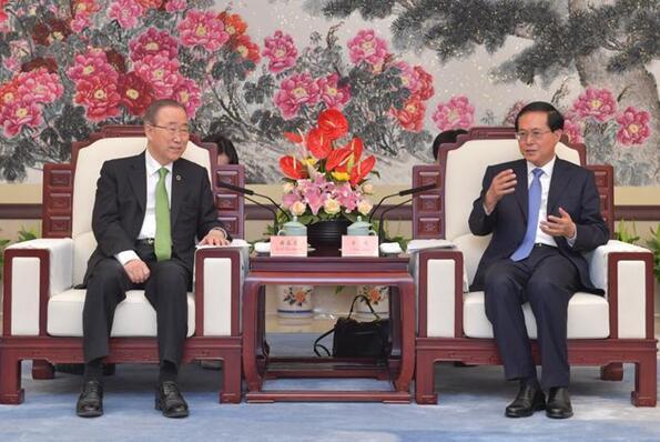 潘基文来杭州参加联合国世界环境日全球主场活动,车俊会见