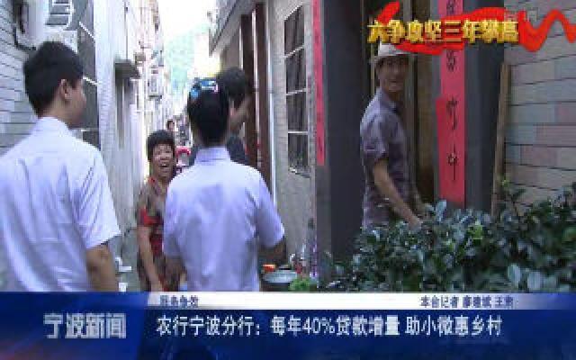 服务争效丨农行宁波分行:每年40%贷款增量 助小微惠乡村